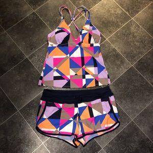 Athleta 2 Piece Tankini and Board Shorts Size M
